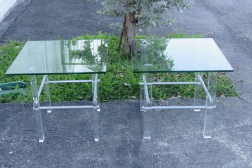 Mid Century Lucite Acrylic Glass Top Pair of Side Tables 2264