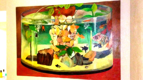"""Hunt Slonem Art""""Aquarium""""Oil on Canvas,extremely rare theme,Those times are gone"""