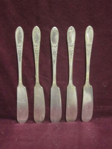 """5pc Silverplate IS Wm Rogers & Son Burgundy BUTTER KNIFE 6 1/8"""" No Mono"""