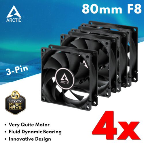 4x 80mm Ultra Quiet 12V Fan Silent Fans for Computer Case Cooling Cooler 3-Pin