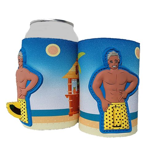 Woody Dick Man Can Cooler Huggie Adult Novelty Gag Gift yellow shorts grey hair