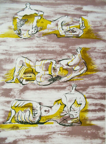 HENRY MOORE - THREE RECLINING FIGURES - ORIGINAL LITHOGRAPH - FREE SHIP IN US  !