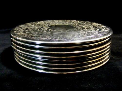 SET 8 RETRO VINTAGE STRACHAN QUALITY SILVER PLATE PLACEMATS