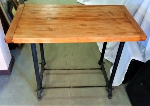 Antique INDUSTRIAL TABLE, Kitchen Island WORK TABLE 1930 1940's Bread Board Top