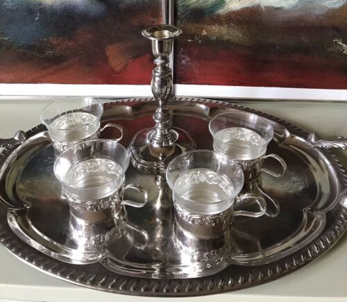 Set Silver Plate Vintage Art Deco Tray/ Mid Century Coffee/tea Cups Candlestick