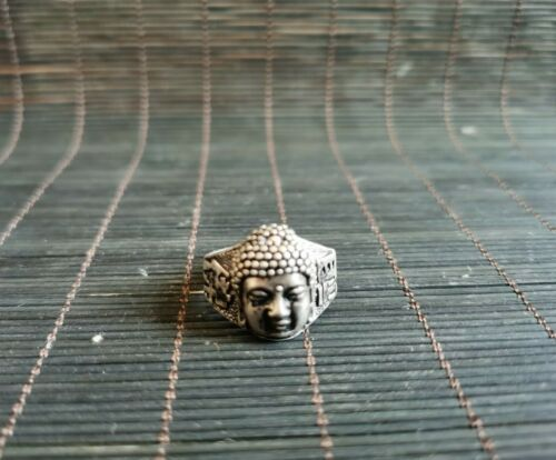 COLLECTIBLE CHINESE SILVER COPPER HANDWORK CARVED buddha bead ring