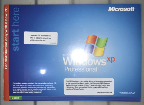 Microsoft Windows XP Professional 2002 version with manual and product key