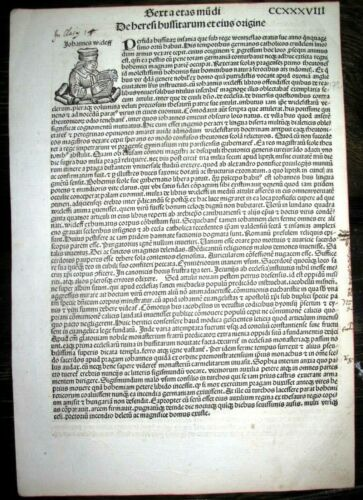 1493 BIBLE Wycliffe INCUNABLE Ancient NUREMBERG CHRONICLE Leaf HISTORY Koberger