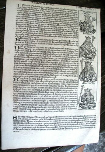 1493 INCUNABLE Ancient NUREMBERG CHRONICLE Leaf HISTORY Koberger POPES Woodcuts