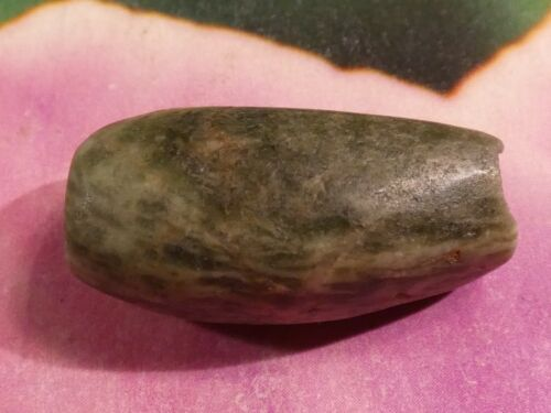 GIANT PRE-COLUMBIAN MESOAMERICAN PATINIZED GREEN JADE TUBE BEAD 27 by 14 MM