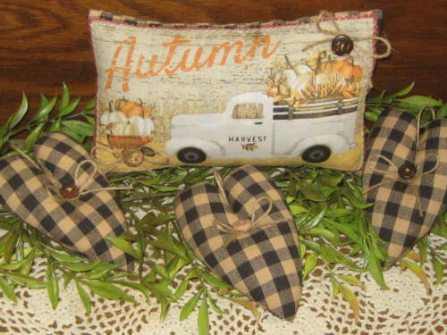 Fall Decor Truck Shelf Sitter Hearts Bowl Fillers Wreath Accents 3 Wishes Fabric