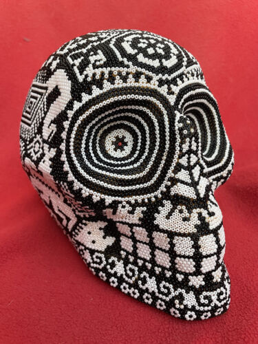 Huichol Tribe Mexican Folk Art Life-Sized Beaded Skull With Sacred Designs