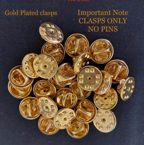25 x GOLD PLATED BUTTERFLY CLUTCH CLASP BACKS FOR PINBACK BADGES - NO PINS
