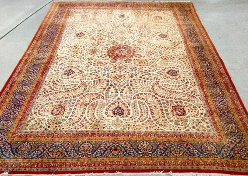 Mid East RUG 12x9 Red/Blue Classic Floral Design HAND KNOTTED Wool Antique LA,Ca