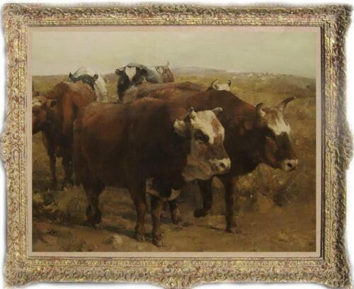 """Hand painted Old Master-Art Antique Oil Painting animal cow on canvas 30""""x40"""""""