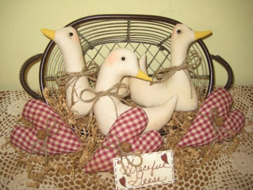 Country Home Decor 3 Geese 3 Burgundy Check hearts Bowl Fillers Farmhouse