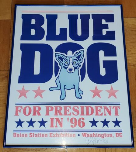 """GEORGE RODRIGUE UNION STATION """"BLUE DOG FOR PRESIDENT"""" SIGNED SILKSCREEN PRINT"""