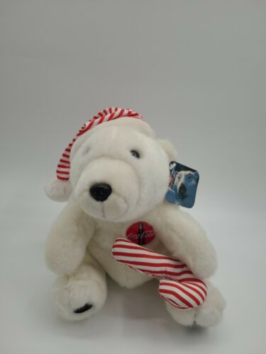 """Vintage 1993 Coca Cola POLAR BEAR 10"""" Plush with Red White Santa Hat WITH TAGS"""