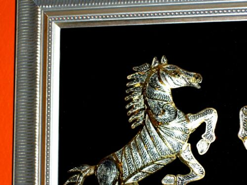 Horses Competition Fight, Superb Animals 3D Sculpture in Gold Silver like Metals