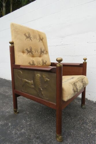 Lb Larsen Megiddo Tall Lounge Chair Side Desk Chair with Brass Carved Lion 2184