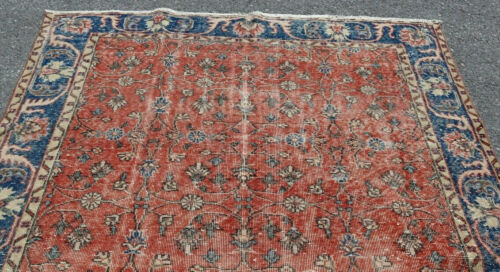 Vintage Muted Floral 10X6' ft Oriental Rug Distressed Decor faded wool Carpet