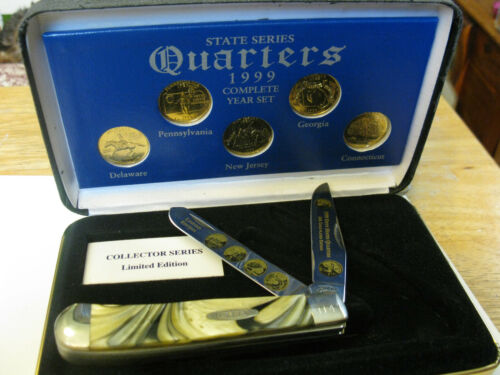 2000 Case XX Trapper Knife & 1999 STATE QUARTER SET 24K GOLD PLATTED Made In USA