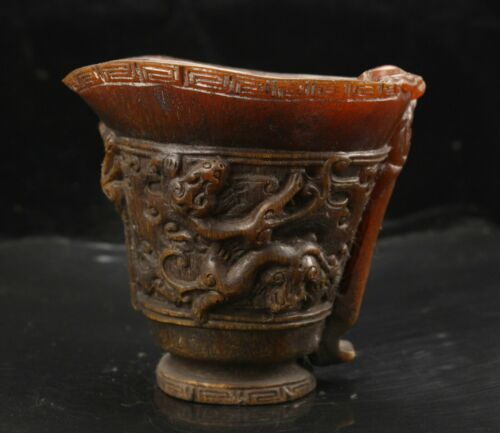 14 cm China Cup natural ox horn Wine Glass brave troops Cup
