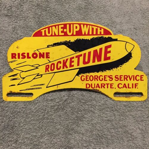 Tune Up With RISLONE ROCKETUNE Oil Metal License Plate Topper Sign California