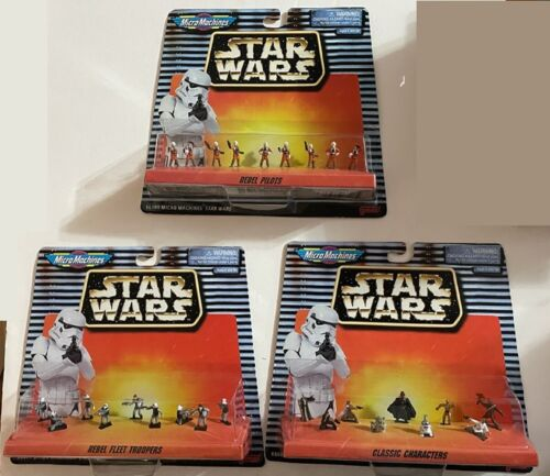 Lot of 3: Star Wars Micro Machines Figure Collections Classic, Troopers, Pilots