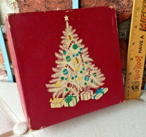 Vintage Country Store FACIL-FAB Ribbon Box With A OH Christmas Tree Art Design!