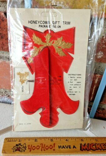 Vintage Unopened Merry Christmas Gift Trim Tie On Honeycomb Bell!