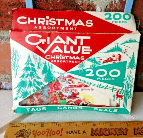 Boxed Set Of Vintage Dennison Merry Christmas Gift Trim Tie-On Tags And Seals!