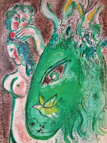 CHAGALL  - PARADISE - ORIGINAL LITHOGRAPH - 1960 -  FREE SHIP IN US !!!