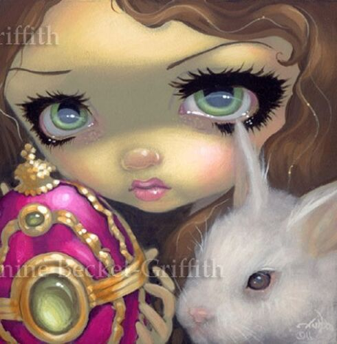 Fairy Face 150 Jasmine Becket-Griffith SIGNED 6x6 PRINT easter egg white rabbit