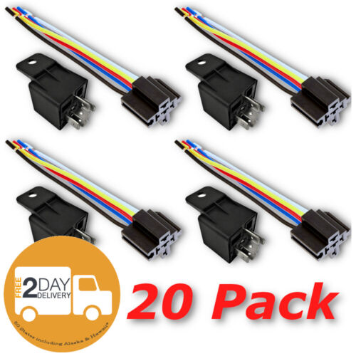 12V 30 40A SPDT Bosch Style Automotive Relays & 5 Wire Socket Harness (20/Pack)