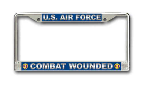 Air Force Combat Wounded With Purple Heart License Frame - American Made!License Plate Frames - 33758