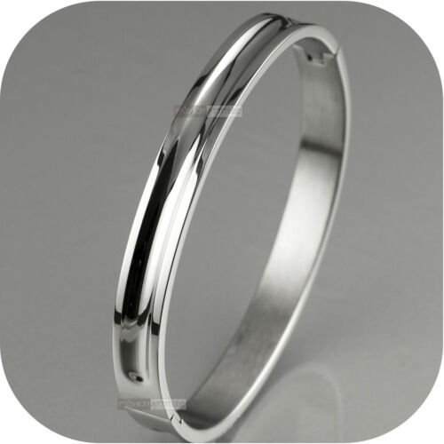 SILVER BRACELET BANGLE STAINLESS STEEL MENS WOMENS OVAL SMOOTH