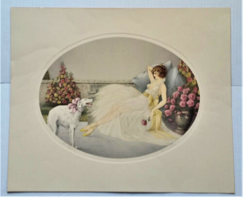 "Courcelles ""In Repose"", lady with a Russian Wolfhound, Icart Style"