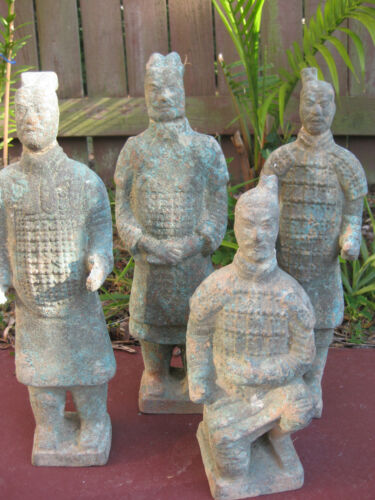 Four Chinese Bronze Soldiers, great patina, Qin dynasty style