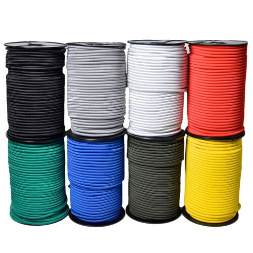 ELASTIC BUNGEE ROPE SHOCK CORD TIE DOWN WHITE BLACK VARIOUS LENGTH / THICKNESS <br/> QUALITY 'EVERLASTO' IN 2MM 3MM 4MM 5MM 6MM 8MM 10MM