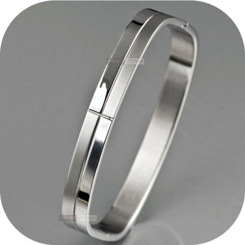 MENS STAINLESS STEEL BRACELET BANGLE FASHION RECTANGLE SOLID DESIGN OPENABLE