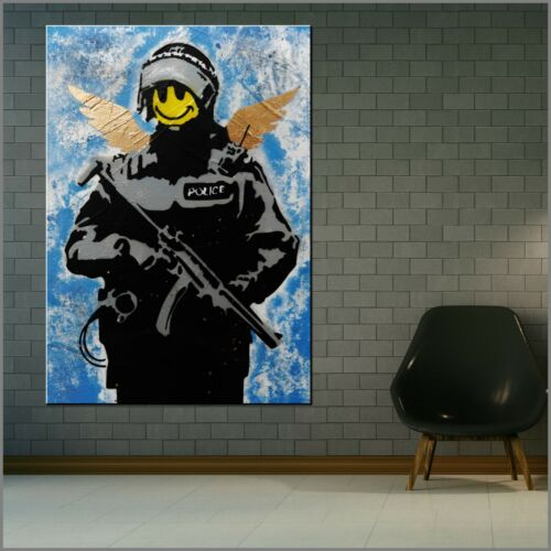 Banksy Smiley Face Cop Police Urban Pop Street Art Textured Painting 140cmx100cm