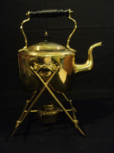 EARLY 19th C. BRASS TEAPOT ON STAND WITH ORIGINAL BURNER, MARKED