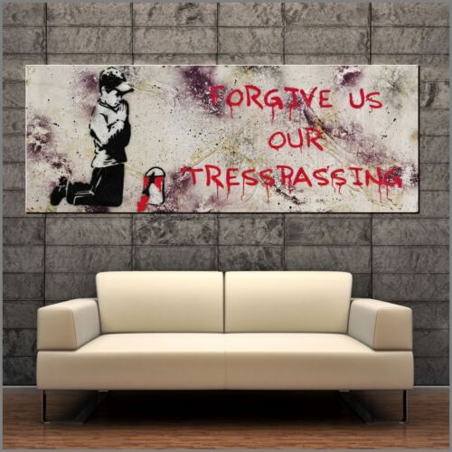 Banksy Respray Forgive Us Tresspassing Street Art Textured Painting 160cm x 60cm