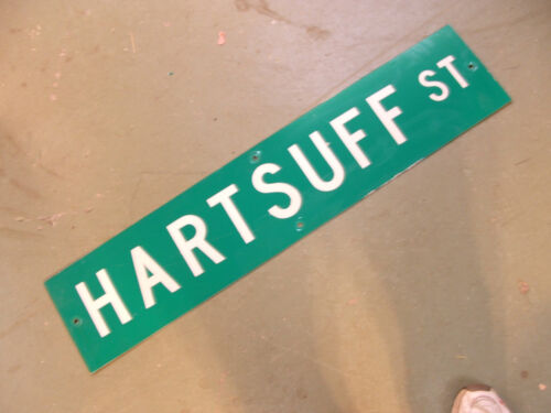 Vintage ORIGINAL HARTSUFF ST STREET SIGN WHITE LETTERING ON GREEN BACKGROUND