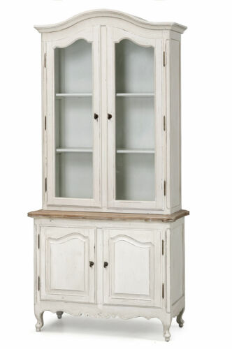 French Provincial Classic Glass Display Cupboard Vintage Bookcase Furniture
