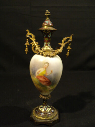 LOVELY 19th C. FRENCH GILT BRONZE CHAMPLEVE URN w/ ENAMELED PORCELIAN DECORATION