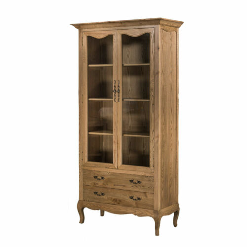 French Provincial Furniture Display Cabinet in Natural Oak <br/> Limited time 10% off SALE!