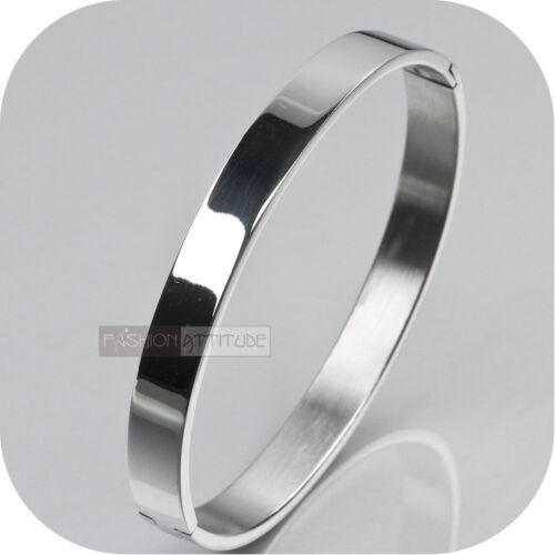 SILVER BRACELET BANGLE STAINLESS STEEL OVAL 8MM WIDE POLISHED MENS OPENABLE