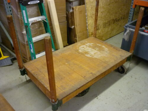 VINTAGE ANTIQUE INDUSTRIAL FACTORY NUTTING LUMBER RAILROAD CART COFFEE TABLE